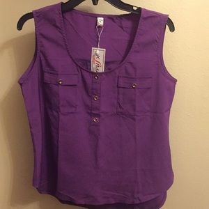 Purple dress top with gold buttons